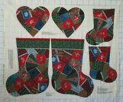 Victorian Crazy Patch Christmas Stockings 2 Sizes And Heart Pillow Fabric Panel