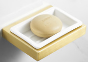 Brushed Gold Bathroom Space Aluminum+ Ceramic Wall Mounted Soap Dishes Holder
