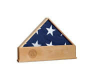 Solid Oak Us Flag Display Case With Navy Emblem Burial Shadow Box