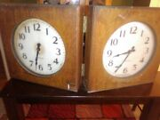 Vtg International Time Recording Co Clocks. Dbl Sided One Of A Kind- In Wood Box