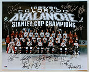 Colorado Avalanche 1996 Stanley Cup Champ Team Signed By 24 Photo Sakic Roy Psa