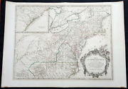 1768 Robert De Vaugondy Large 2nd Edition Antique Map Of Colonial United States