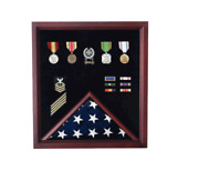 Retirement Casket Flag And Badge Military Display Case Shadow Box