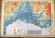 1944 Ww Ii Headline Newspaper Color Map Of Invasion Of France Normandy Campaign