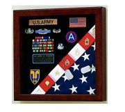 American Made Burial Flag And Badge Medals Military Display Case Shadow Box