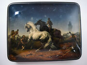 Russian Lacquer Box - Gypsy Horse Thieves - Large Size - Artist Signed