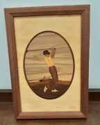 Early Jeff Nelson Signed Hudson River Inlay Marquetry Driver Golf Art