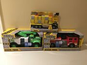 Tonka Rescue Force Toy Vehicle Lot Firetruck, Utility Truck And Car Carrier