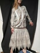 Vintage 1980's Does 20's Silver Lace Great Gatsby Flapper Dress L/xl/2x