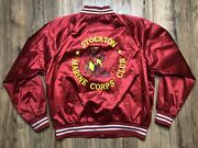 Vintage Stockton Marine Corps Club Red Satin Bomber Jacket W/ Patches Large