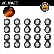 20x 2 Round Led Marker Light 9 Diodes W/ Reflector Clear/amber Grommet/pigtail