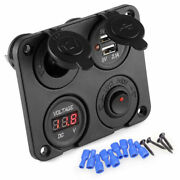 12v Car Cigarette Lighter Socket + Dual Usb Port Charger + Voltmeter Panel S200