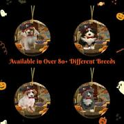 Halloween Trick Or Treat Dog Cat Photo Lovers Round Flat Christmas Tree Ornament