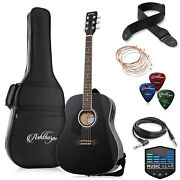 Full-size Left-handed Dreadnought Acoustic-electric Guitar W/ Gig Bag And Eq