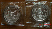 1996 Panda 1oz Silver Coin Small Date And Large Date 2 Coins