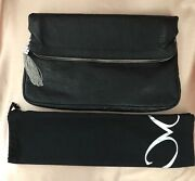 Monika Chiang Large Black Leather Clutch With Dust Bag