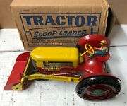 Louis Marx Tin Tractor With Scoop And Loader-1950s-15-exc With Box-rare