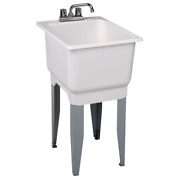Mustee 18 X 23.5 In. Plastic Laundry Tub Utility Sink W/ Faucet Steel Legs White