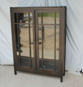 Antique Mission Oak Double Door Bookcase Andndash Pane Windows - Arts And Crafts Style