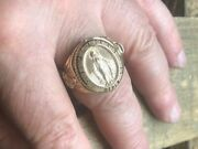 14k Gold Blessed Virgin Mary Miraculous Ring 22 Grams