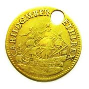 Rare 17th Century Gold Touch Piece Of King Charles Ii 1664 - 1685 Ad