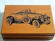 Vintage Wooden Playing Card Holder With Decorative Painted Vintage Car