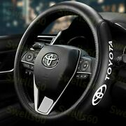 15 Car Steering Wheel Cover Genuine Leather For Toyota New Black X1