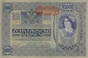 Lot Currency Austria Hungarian Reich 1918 Wwi Banknote Kronen 10000 Circ Nice