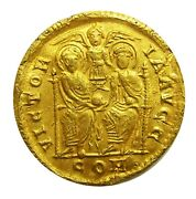 Ancient Roman Gold Solidus Of Valentinian Ii Milan 378 - 383 A.d. Excavated