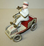 Antique Lehmann Tut Tut Tin Wind Up Toy Andndash With Driver Blowing Horn