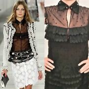 04p 2004 Spring Black Sheer Lace Bow Tie Pearl Top Blouse Us 6
