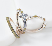 Connemara Marble Set Of 3 Sterling Silver Rings Size 8 Qvc 80.00