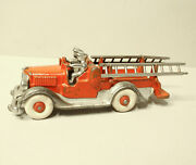 Antique Hubley Cast Iron Fire Ladder Truck With Plated Removable Ladders
