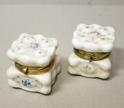 Two Antique Wave Crest Small Hinged Boxes With Silk Liners