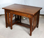 Antique Mission Oak Desk With Bookcase On The End Andndash Limbert - Arts And Crafts Styl