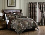 Amelia 9-piece Floral Jacquard Brown/teal Patchwork Comforter Or Curtain Set