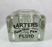 Antique Advertising Display Carter's Ink Fountain Pen Fluid Square Glass Bottle