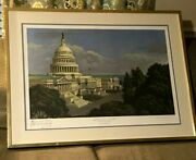 1987 Congressman Pat Swindall Signed Print By Alan Campbell Us Capital Building