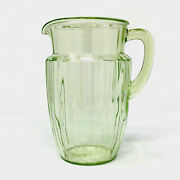 Green Vaseline Depression Glass Ribbed Pitcher C.1930s 8 Tall