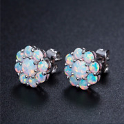 3ct White Round Cut Opal Floral Push Back Stud Earrings In 14k White Gold Finish