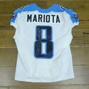 2014 Marcus Mariota Signed Game Used Rookie Year Football Jersey Very Light Use