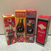 Very Rare Antique Coca-cola Bottle Set Of 4 With Unopened Prize From Japan Y/n