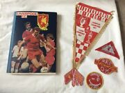 Unique 1977 Liverpool Fc Scrapbook And Original Pennant And Club Patches