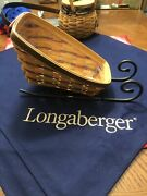 Longaberger 1998 Large Sleigh/vegetable Basket, Protector And Wrought Iron Runners