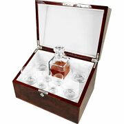Crystal Whisky Decanter Tumbler And Shot Glass Set In A English Burl Walnut Box