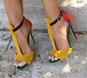 Womens Sexy High Heel Sandals Splicing Peep Toe Stiletto Party Dress Shoes Size