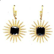 14k-585 Yellow Gold Leaf Spring With Black Diamond Earring 7.2 Grams