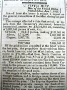 1828 Display Newspaper With Us Mint Numismatics Early Coins Gold Silver Copper