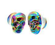 Glass Plugs With Multicolored Iridescent Skull Pg-550 Gauges Pick Your Size