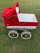 Vintage Baby Carriage Stroller Red Chrome Perry Pram Wicker Basket